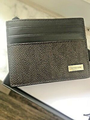 Michael Kors Giftables Jet Set Mens / Unisex Tall Card Case in Pvc & Leather-BRN
