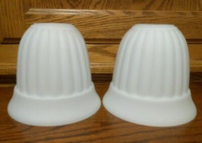 Two White Fluted Slip Shade Ceiling Lamp Light Fixture Sconce Lot of 2