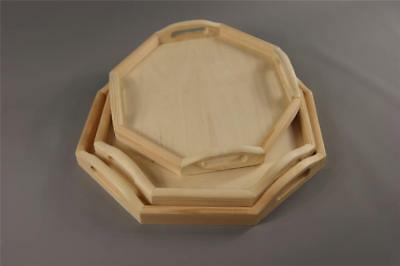 3in1 Wooden Tea Meal Serving Tray Waiter Table Bar Dining Kitchen Caddy Octagon