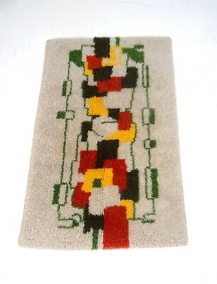 60S Mid Century Danish Modern Abstract Vintage Wool Carpet Shag Rug 70S