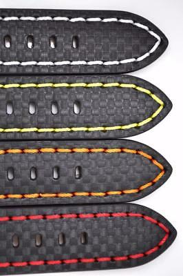 Deluxe Chunky Carbon Fibre Calf Leather Sports Watch Strap Coloured Stitching