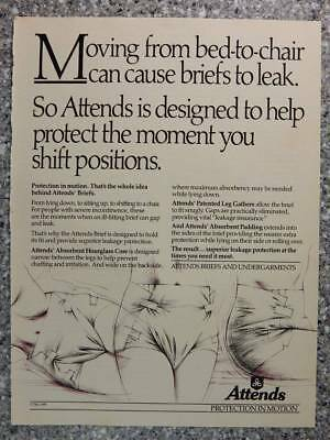 1989 Attends Briefs - Vintage Magazine Ad Page - Bladder Control Incontinence