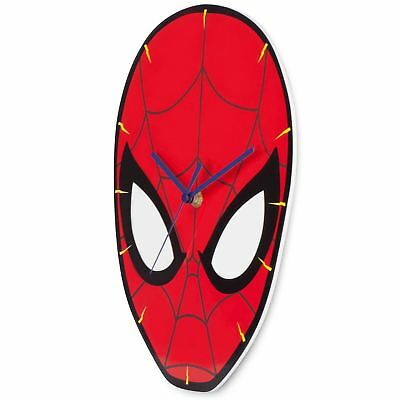 Official Spiderman Shaped Wall Clock Kids Bedroom Playroom By Zeon