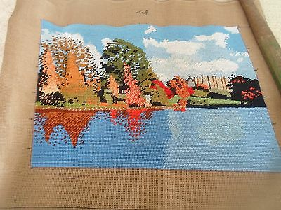 Fab Colourful Completed Handmade Tapestry LAKESIDE SCENE  Suitable for Framing