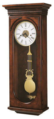 "620-433 Howard Miller Key Wound Cherry Chime Wall Clock ""earnest"""