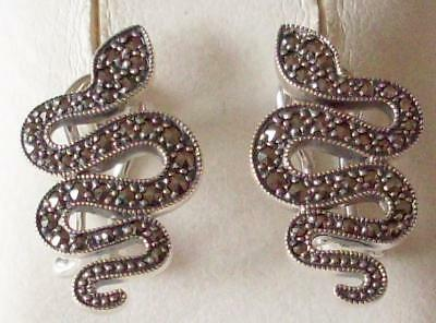V&a The Victoria And Albert Museum, Silver & Marcasite Serpent Earrings Rrp £155