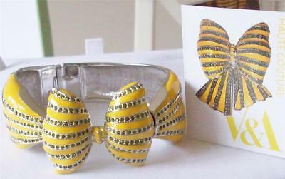 V&a - The Victoria And Albert Museum, Yellow Enamel Bow Bracelet Bangle Rrp £220