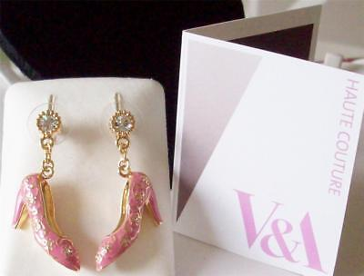 V&a - The Victoria And Albert Museum London, Pink Shoes Drop Earrings Rrp £45.