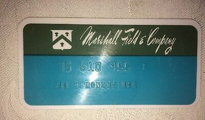 "MARSHALL FIELD'S vintage COLLECTIBLE CREDIT CARD-1990's-3.5""x1.75""-gn/aqua"