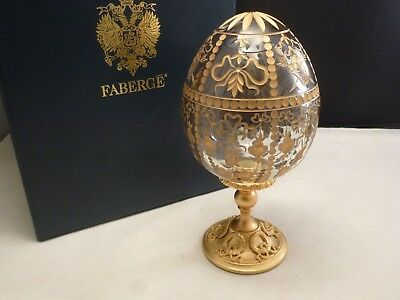 Signed Tatiana Faberge ,  Faberge Crystal Egg  New Box Gold  Numbered 1209