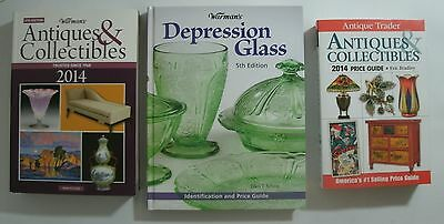 LOT of 3 Collectible Books:  Depression Warmans Antique Trader / ID & Value Gd