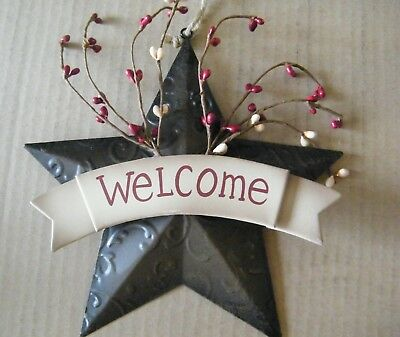 """8"""" Primitive Country Brown WELCOME Metal Barn STAR Tin Wall Art Decor Sign"""