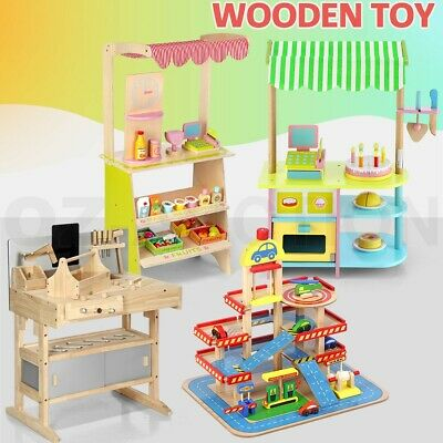 Kids Wooden Pretend Play Toy Set Supermarket / Cake Shop / Workshop / Car Garage