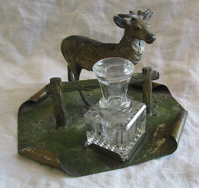 ANTIQUE DESK INK WELL Deer Stag Buck Cold Paint Unique Rare Nice Old Estate