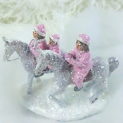 Vintage Style Christmas Village Accessory Horses HP Pink Shabby Chic Handpainted