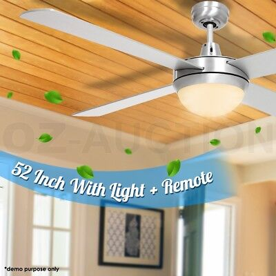 52 inch (1300mm) Ceiling Fan with Light & Radio Frequency Remote Control Silver