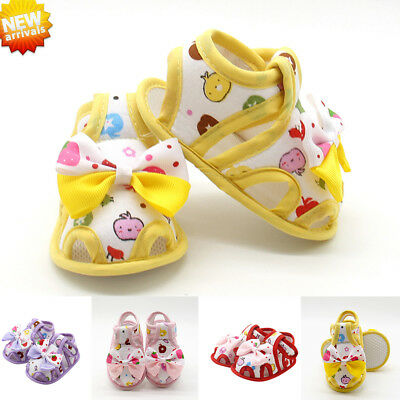 Newborn Infant Baby Girls Summer Bow Soft Sole Toddler Anti-slip Shoes Sandals