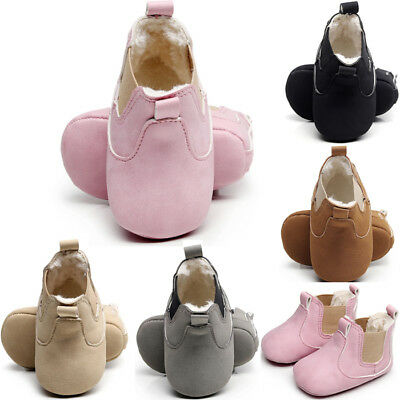 Newborn Baby Kid Boy Girl Soft Sole Crib Shoes Warm Boots Sneaker Moccasin 0-18M
