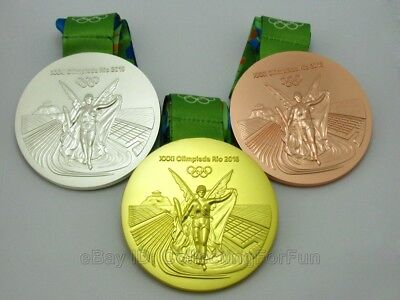 3 Pieces Rio 2016 Olympic Medals Gold Silver Bronze with Ribbons 1:1 Full Set
