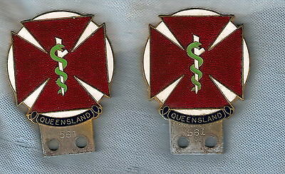 #d183. Scarce Pair 1960  Enamel Doctor Car Badges #561