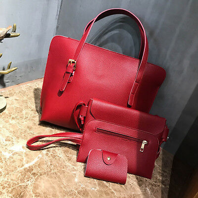 4pcs Women Leather Handbag Lady Shoulder Bag Tote Purse Messenger Satchel Set CA