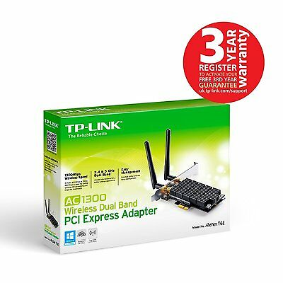 TP-Link Archer T6E AC1300 Wireless Dual Band PCI Express Card 1.3Gbps Two Aerial