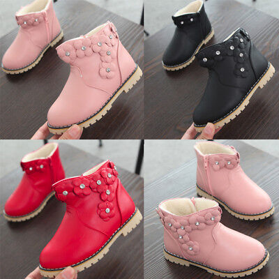 Child Kid Baby Girl Fall Winter Warm Boots Leather Soft Shoes Sneakers Moccasin
