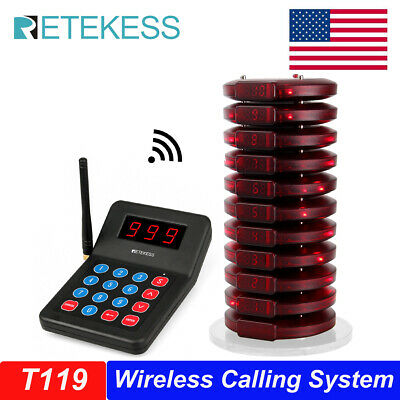 Restaurant Wireless Paging Queuing System+10 X Call Coaster Pager for auto shop
