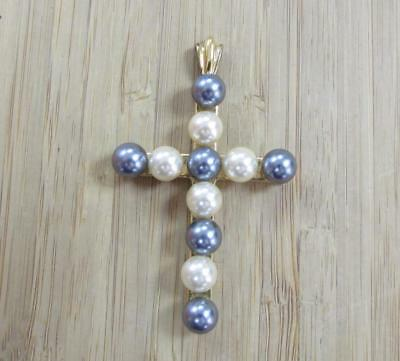 Imitation Pearl Sterling Silver Gold Plated Cross Pendant ~ 15.4grams ~ 10-F6162