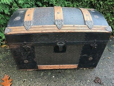 Antique Victorian Hump Back Trunk Chest