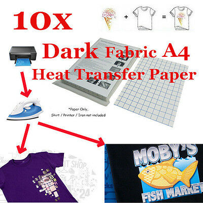 10 Sheets T-Shirt Inkjet Iron-On Heat Transfer Paper, For Dark Fabric, A4 -New