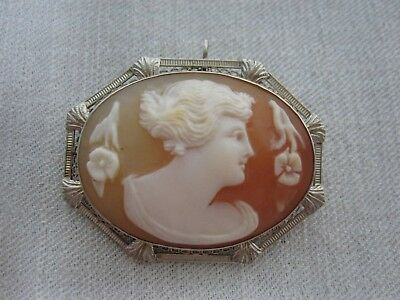 ANTIQUE 14K GOLD CARVED SHELL CAMEO with LOVELY LADY with FLOWERS