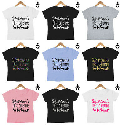 FIRST CHRISTMAS, PERSONALISED, name 1st, cute gift Funny, Baby / Childs, T-Shirt