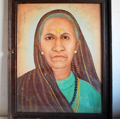 Antique Old Portrait Indian Woman Lady Hand Oil Painting On Board Framed Signed