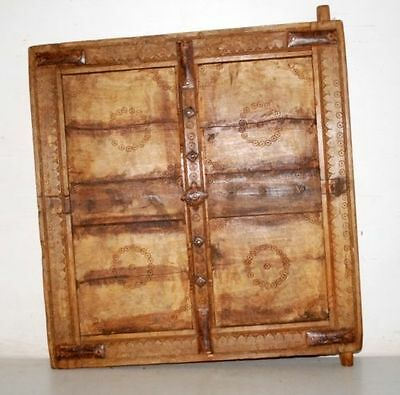 1850's Antique Old Wooden Hand Carved Window Door