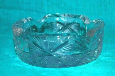 Vintage Old Rare Beautiful Clear Cut Glass Victorian  Round Ash Tray