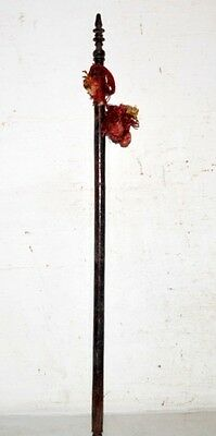 1890's Antique Old Indian Rose Wood Hand Carved Beautiful Hand Fan Stick Kn15