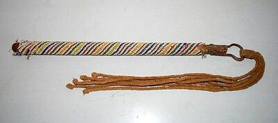 Antique Indian Old Rare Original Wooden Beads Brass Hand Crafted Horsewhip Lash