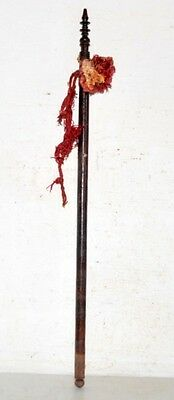 1890's Antique Old Indian Rose Wood Hand Carved Beautiful Hand Fan Stick Kn7