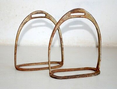 Vintage Hand Forged Iron 1 Piece Pair Horse Paddle Stirrups Foot Rest