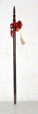 1890's Antique Old Indian Rose Wood Hand Carved Beautiful Hand Fan Stick Kn5