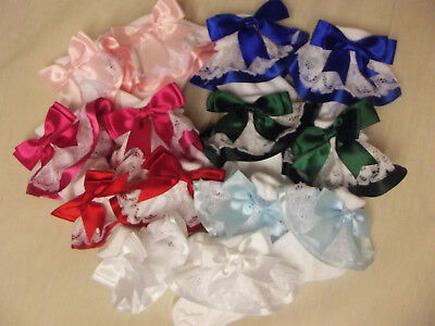 Dream Girls Ribbon Bow Choice 16 Colours Frilly Socks All Sizes Or Reborn Dolls