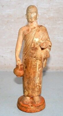 Old Antique India Terracotta Clay Hand Crafted Man Saint Monk Priest Statue