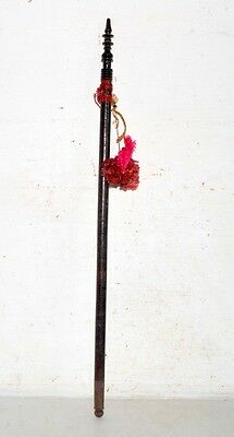 1890's Antique Old Indian Rose Wood Hand Carved Beautiful Hand Fan Stick Kn8