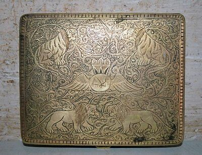 Ancient India Old Brass Hand Engraved Lion Figure Islamic Royal Cigarette Case