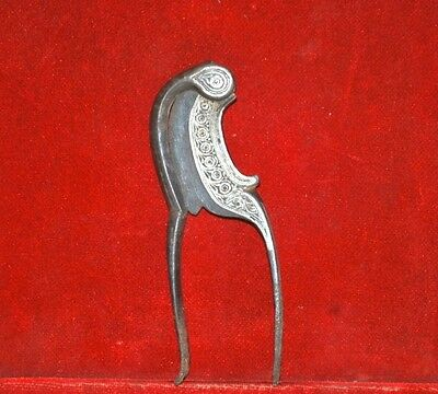 1800's Antique Old Iron Silver Engraved Very Rare Islamic Betel  Nut Cutter