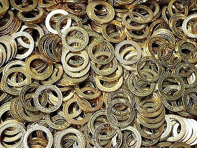 Lot Of 100 Casino Gaming Tokens Gold Toned Brass Rings Great For Crafts & More