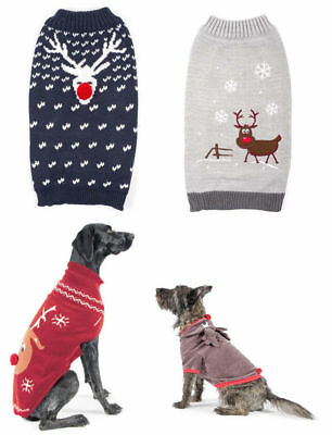 Ancol Cute Xmas Christmas Reindeer Dog Puppy Jumper Sweater Blue Red Grey Navy
