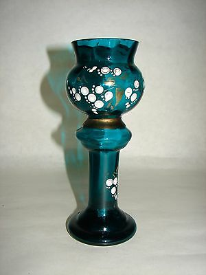 Antique Welz Bohemian Czech Aqua Green Glass Pedestal Trophy Vase Enamel Decor