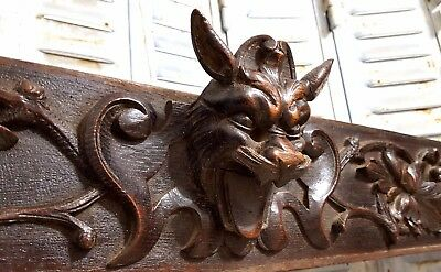 LION GRIFFIN HUGE HAND CARVED WOOD PEDIMENT ANTIQUE FRENCH CREST PANELLING 19th